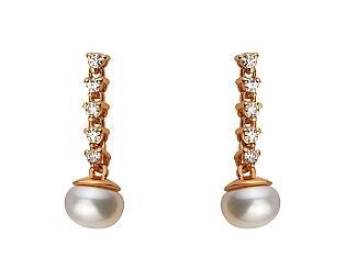 Золоті сережки з діамантами і перлиною 1с-164 фотографія