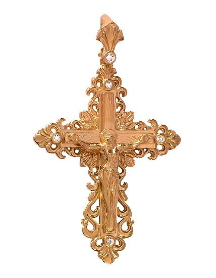 Золотой крестик 585 пробы с фианитами (15-000072701)