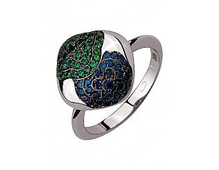 Золотое кольцо с корундами синтетическими и фианитами 11б_к-045 фотография