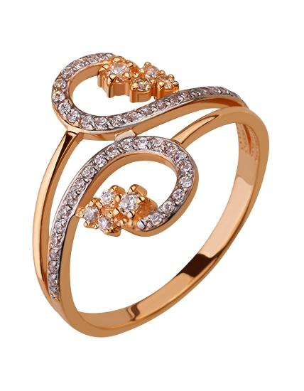 Золотое кольцо 585 пробы с фианитами (01-16531948)
