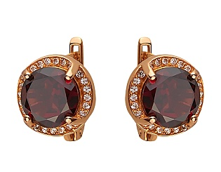 Золоті сережки з гранатом 01-17273148 фотографія