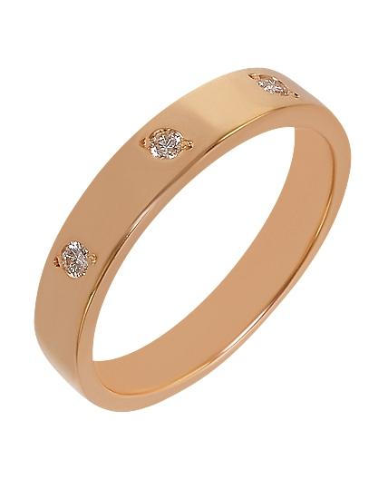 """Золотое обручальное кольцо 585 пробы с бриллиантами (15-000088521) """"Ювелирная карта"""""""