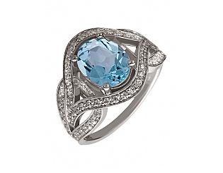 Золотое кольцо с топазом и фианитом 2б_к-068 фотография