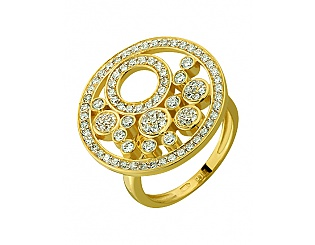 Золота каблучка з цирконіями 3б_к-118 фотографія