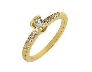 Золотое кольцо с фианитами 3-к-1376 фотография