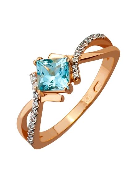 Золотое кольцо с фианитом и топазом 8б_к-074 фотография 1
