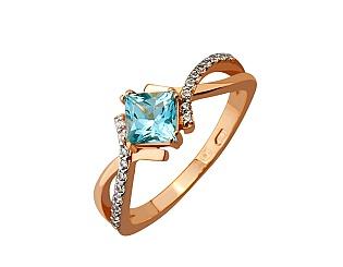 Золотое кольцо с фианитом и топазом 8б_к-074 фотография