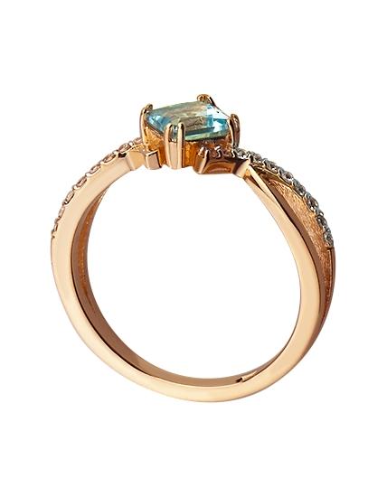 Золотое кольцо с фианитом и топазом 8б_к-074 фотография 2