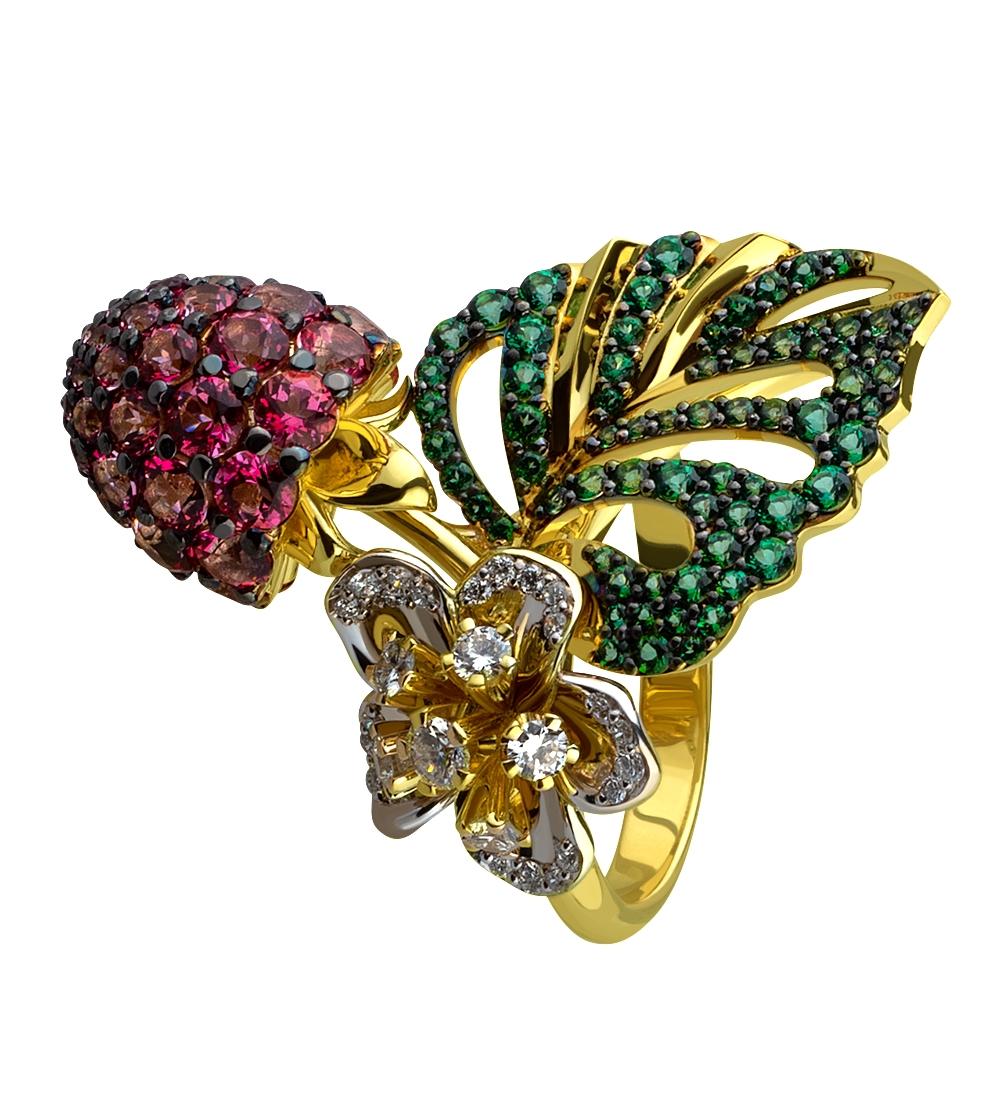 Золота каблучка з топазами і діамантами 14б_к-183 фотографія
