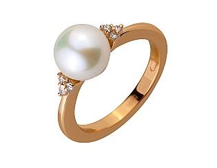 Золота каблучка з діамантами і перлиною 1б_к-064 фотографія