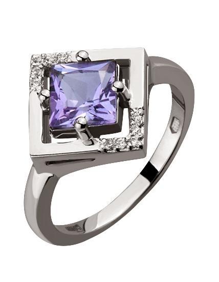 Золотое кольцо с цирконием куб. и аметистом 2б_к-042 фотография 1