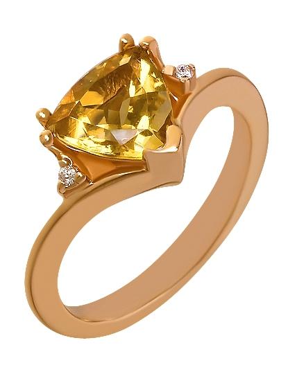 """Золотое кольцо 585 пробы с цитрином и фианитами (15-000070799) """"Ювелирная карта"""""""