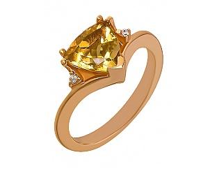 Золотое кольцо с цитрином и цирконием куб. 1к-248 фотография
