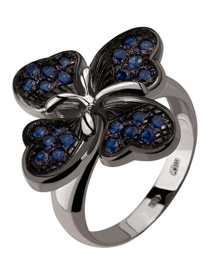 """Золотое кольцо 585 пробы с сапфирами (15-000076852) """"Ювелирная карта"""""""