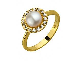 Золотое кольцо с фианитом и жемчугом 3б_к-115 фотография