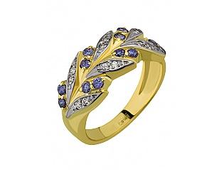 Золотое кольцо с фианитами 9б_к-015 фотография