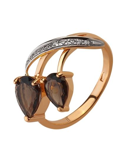 Золотое кольцо с кварцами и фианитом 8б_к-044 фотография 1
