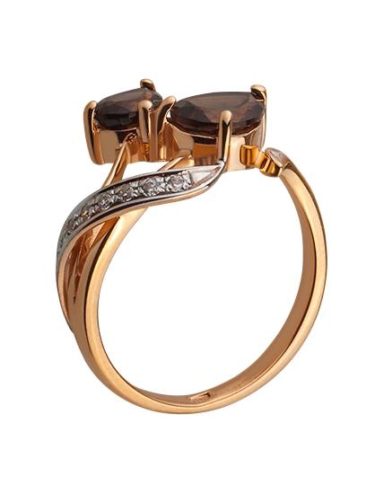 Золотое кольцо с кварцами и фианитом 8б_к-044 фотография 2