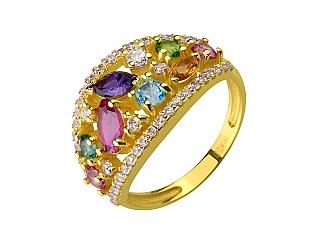 Золотое кольцо с турмалином и аметистом и цитрином и топазами и фианитами 3б_к-167 фотография