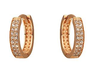 Золоті сережки з цирконієм куб. 1-с-1200 фотографія