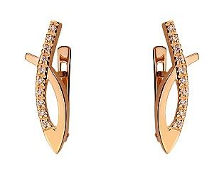 Золоті сережки з цирконієм куб. 01-17620852 фотографія