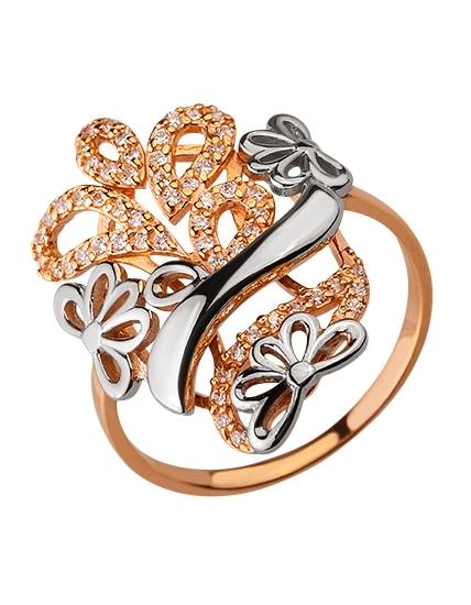 Золотое кольцо с цирконием куб. 01-17599253 фотография 1