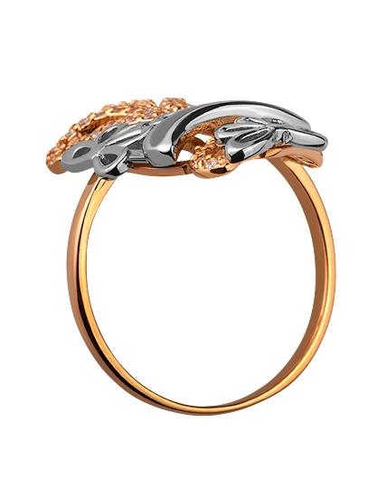 Золотое кольцо с цирконием куб. 01-17599253 фотография 2