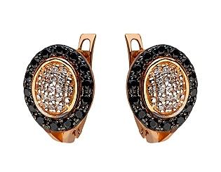 Золоті сережки з цирконієм куб. 01-17604153 фотографія