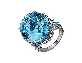 Золотое кольцо с топазами и бриллиантами 2б_к-173 фотография