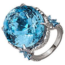 Золотое кольцо с бриллиантами и топазами (2б_к-173)