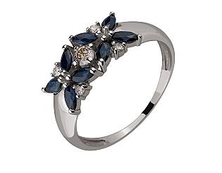 Золотое кольцо с бриллиантами и сапфиром 2б_к-194 фотография
