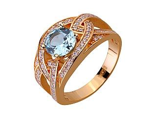 Золотое кольцо с топазами и фианитами 1б_к-156 фотография