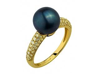 Золотое кольцо с циркониями и жемчугом 3б_к-109 фотография