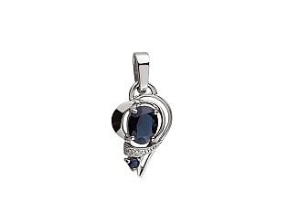 Золотий кулон з діамантом і корундами 01-17497155 фотографія