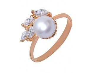 Золотое кольцо с фианитом и жемчугом 1-к-116 фотография