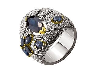 Золота каблучка з сапфірами і діамантами 5б_к-165 фотографія