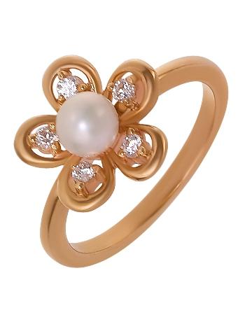 Золотое кольцо с цирконием куб. и жемчугом 1к-094 фотография 1