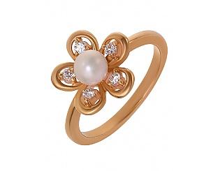 Золотое кольцо с цирконием куб. и жемчугом 1к-094 фотография