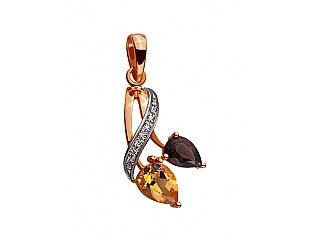 Золотий кулон з цирконіями і кварцом і цитрином 4б_п-041 фотографія
