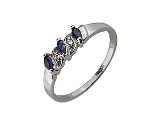 Золотое кольцо с бриллиантом и корундом 01-17520156 фотография