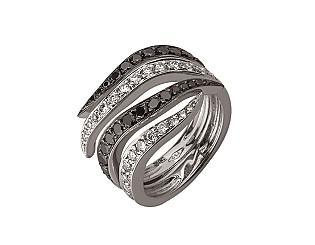Золота каблучка з діамантами 01-17635556 фотографія