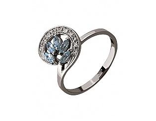 Золотое кольцо с цирконием куб. и топазом 2к-240 фотография