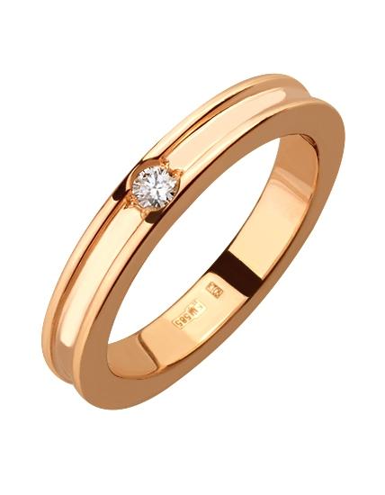 """Золотое обручальное кольцо 585 пробы с бриллиантом (15-000076631) """"Ювелирная карта"""""""