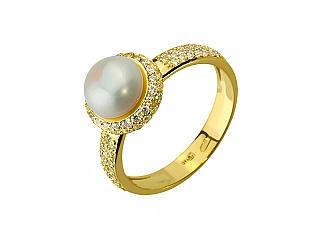 Золотое кольцо с фианитами и жемчугом 3б_к-131 фотография