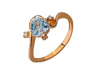 Золотое кольцо с топазом и фианитом 01-17346557 фотография