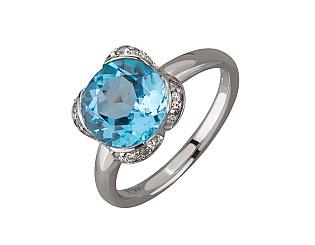 Золотое кольцо с бриллиантом и топазом 01-17676157 фотография