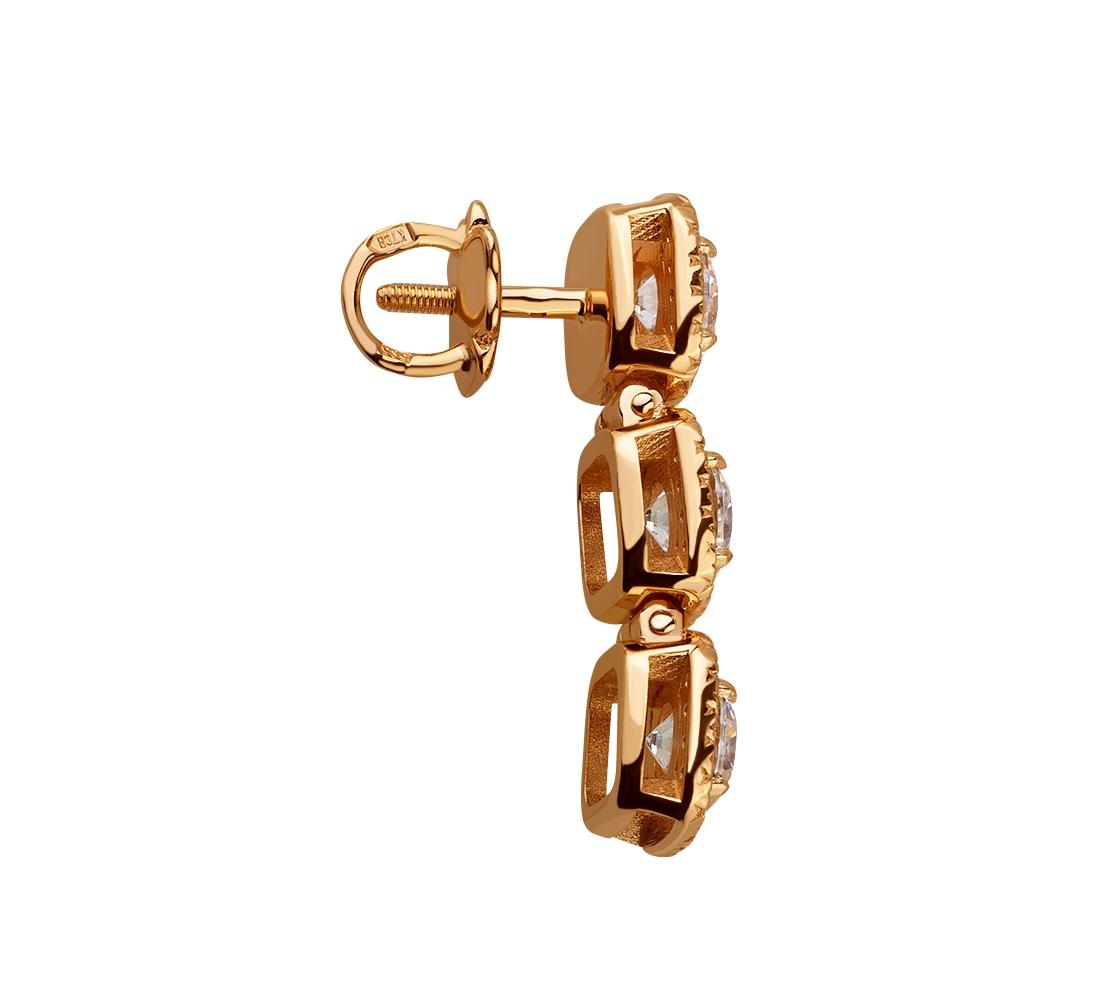 Золоті сережки з фіанітами 1б_с-143 фотографія