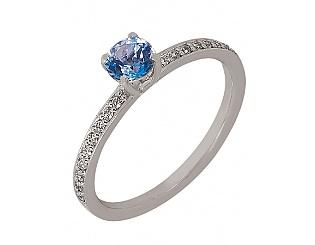Золотое кольцо с фианитами и топазами 2к-266 фотография