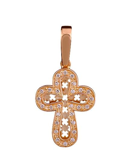 Золотой крестик 585 пробы с фианитами (01-15661358)