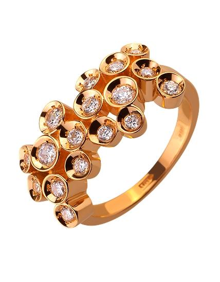 Золота каблучка з цирконієм куб. 01-17593058 фотографія 1